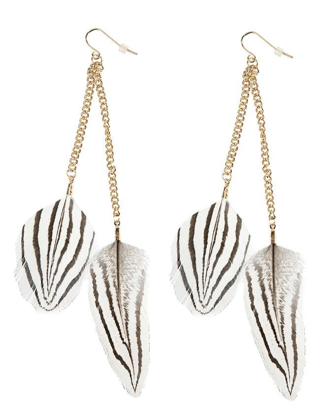 Bohemia Style White Zebra Feather Earrings Simple Short Plumage Pendant Earrings Fashion Jewelry wholesale 12pair/lot