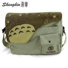 Anime Totoro Women Messenger Bags Women's Handbags Cartoon Shoulder Bag Anime Totoro Crossbody Bag Canvas tote bag(China)