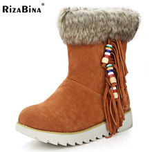 Buy RizaBina Size 34-44 Cold Winter Shoes Women Warm Fur Inside Mid Aclf Snow Boots Women Tassels Thick Platform Warm Flat Botas for $28.78 in AliExpress store