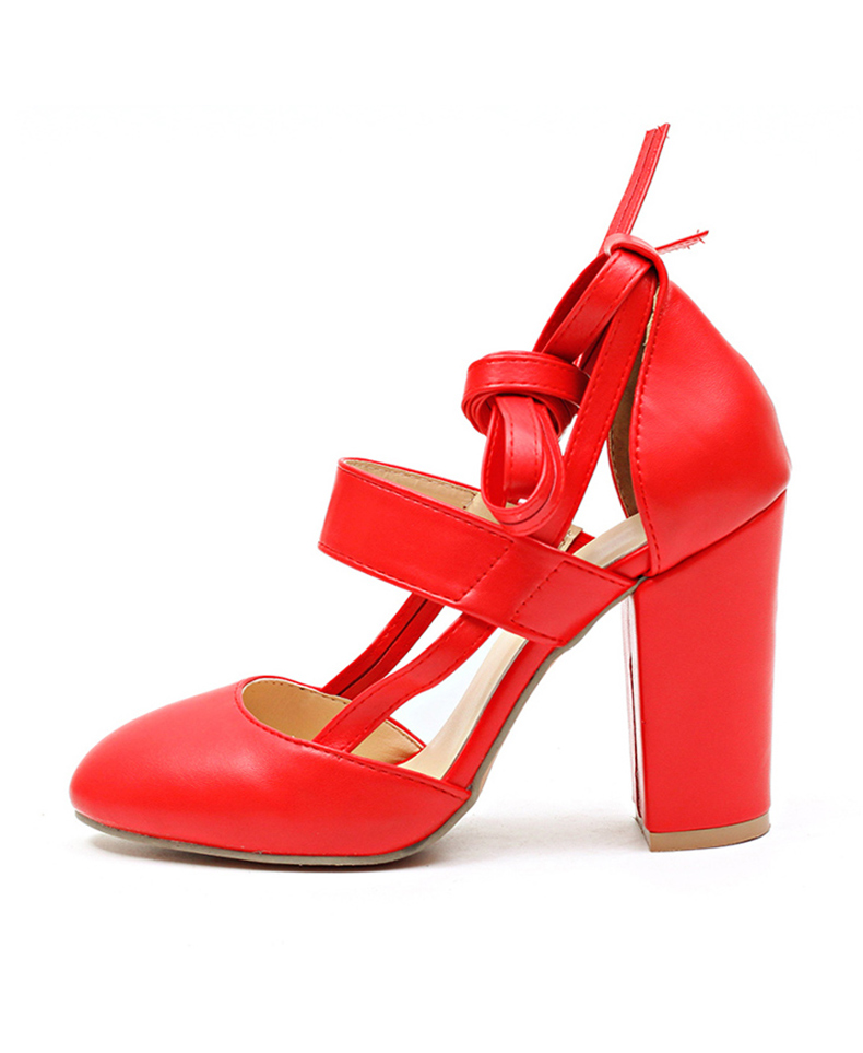 Women Pumps Comfortable Thick Heels Women Shoes Brand High Heels Ankle Strap Women Gladiator Heeled Sandals 8.5CM Wedding Shoes 17