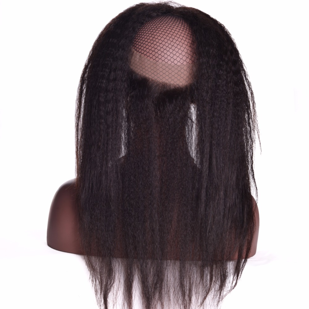 [ALIPOP] Pre Plucked 360 Lace Frontal Closure With Baby Hair Remy Brazilian Kinky Straight Hair Bundles 100% Human Hair Closure (4)