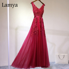 Lamya Elegant Pearl A Line Lace Prom Dress 2017 New Long Red Blue Prom Dress V Neck Sexy Formal Prom Dress For Wedding