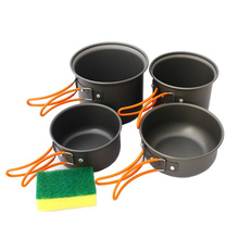 Outdoor Camping Cooking Sets Pot Portable Picnic Pots Hiking Cooking Sets Aluminum Pots for 2-3 Person(China)