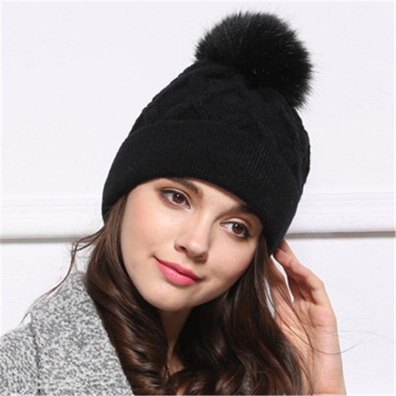 Vintage Wool Ski Warm Winter Faux Fox Fur Pom Beanie Bobble Hat Cute Pompom Ball Removable Unisex Hats CapsОдежда и ак�е��уары<br><br><br>Aliexpress