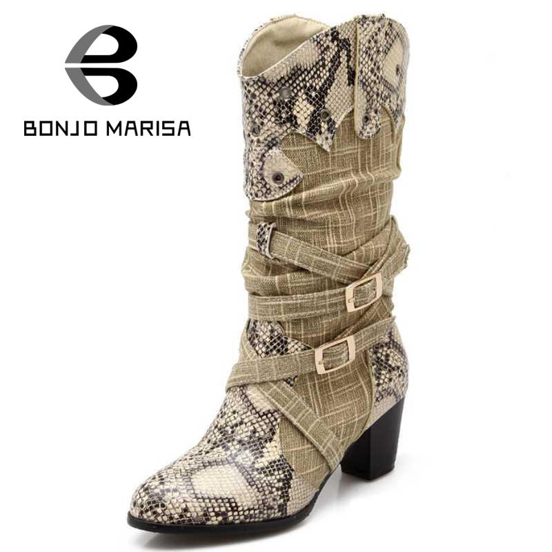 2017 New Fashion Womens Denim Med-Knee Boots Chunky Heels Spring Fall Shoes Woman Round Toe Cool Cowboy Motorcycle Boots<br><br>Aliexpress