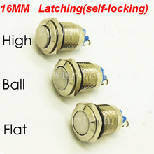 1PC 16mm Power Start Button 18x30mm 1NO Latching self-locking Metal Push Button Switch IP67 250V/3A