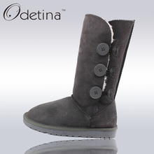 Odetina New Large Size Australian Snow Boots Women Mid Calf 2017 Winter Leather Fur Boots Women Flats Boots Suede Winter Shoes