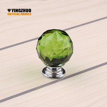 2017 Kitchen Handles 30mm Colorful K9 Crystal Handle Knobs Furniture Jewelry Box Kids Room Door Used Pull Closet Decoration