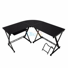 L-shaped Computer PC Table Home Study Office Furniture Corner Desk Workstation Black Color