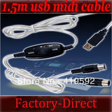 4PCS/lot 5ft 1.5m MIDI USB Cable Converter to PC Music Keyboard Adapter
