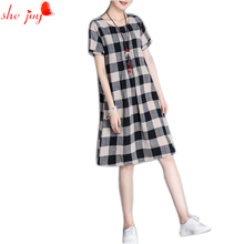 Female Vintage Knee Length Dress Plaid Cotton Vestidos Plus Size Plaid Vetidos Clothings Stylish Women Gowns Clothings