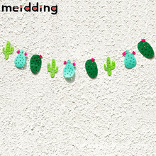 MEIDDING 9pcs Non-woven Fabrics Cactus Garland Banner Bunting Garland Hawaii Party Favor Home Decor Swimming Pool Party Supplies(China)