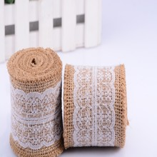 6x200cm White Lace Natura Jute Burlap Hessian Trims Tape Roll Wedding Party Tables Chairs Belt Strap Decorations Cake Ribbon
