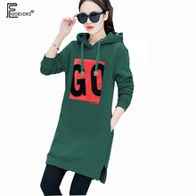 Winter Dresses New Hot Selling Women Fashion Long Sleeve Casual Letter Printed Mini Tunic Style Red Green Black Hooded Dress(China)