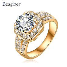 Beagloer Top Sale 2016 New Trendy Ring Gold  Square Shape AAA Cubic Zircon Brand Ring Fine Jewelry Women Rings CRI0015-C