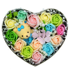 Nice Smell Romantic Handmade Rose Artificial Soap Flower Bouquet Decoration For Weddings Party and Girlfriend Gift(China)