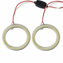 2 pieces Halo Rings Angel Eye car Headlight COB 60/70/80/90/100/110/120 mm Lampshades Bright auto drl Angel Eyes Motorcycle 12v