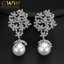 High Quality Cubic Zirconia Paved Long Dangle Drop 925 Sterling Silver Pearl Earrings Jewelry For Women Wedding Party CZ372