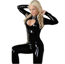 Buy Lingerie Sexy Cuir 2017 Adult Black PVC Leather Tight Coverall Bodysuits Lingerie Grote Maten Porn Sexy Womens Dresses jd4
