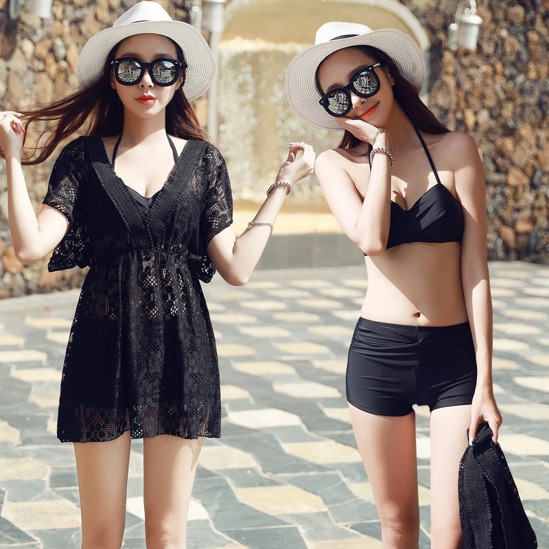 Beach sports woman Swim Bikini three-piece suit Lace Swimsuit Female Bikini black Flat angle Loose smock Small chest Sexy Hot sw<br>