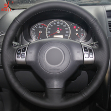 XUJI Black Leather Hand-stitched Car Steering Wheel Cover for Suzuki SX4 Alto Old Swift(China)