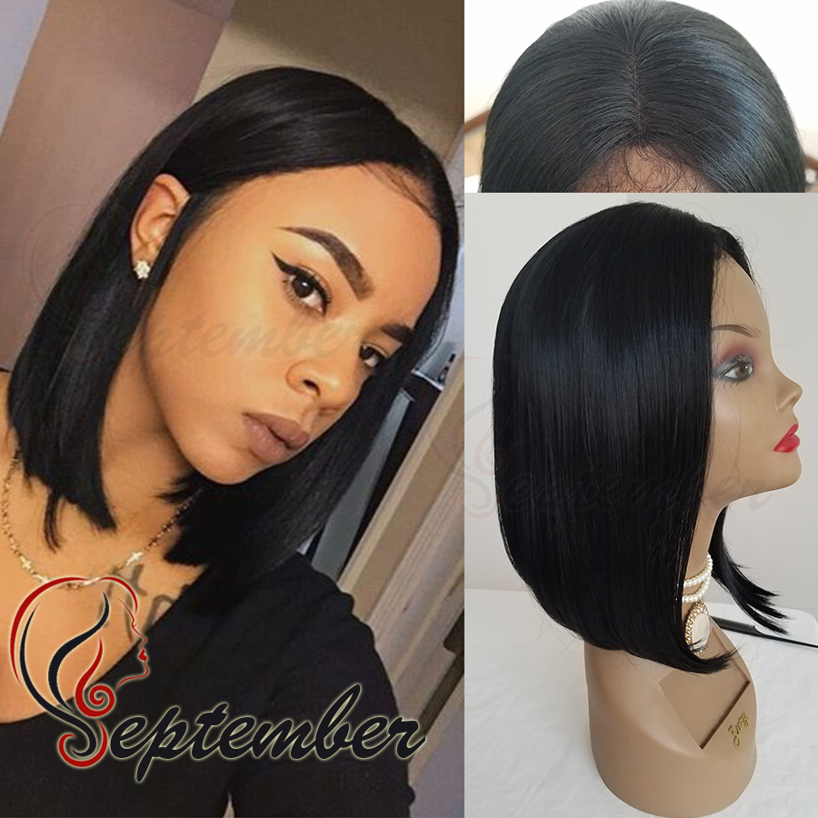 Lace front wig short straight bob hair glueless heat resistant synthetic lace front wig for black women synthetic hair wig<br><br>Aliexpress