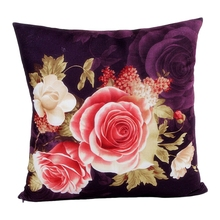 Flower Printing Dyeing Peony Sofa Car Bed Home Decor Pillow Case Cushion Cover PURPLE