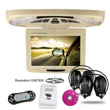 XTRONS 11.3 inch Monitor 1280*800 Car Roof Mount Flip Down Overhead DVD Player 2 Colors Available Black/Beige Cream+2 Headphones