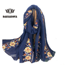 [DARIAROVA] 100*180 Oversize Cotton Linen Scarf Embroidery Tippet for Women Summer Autumn Pareo Beach Hijab Embroidered Scarves