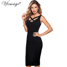 Vfemage Womens Sexy Elegant Sequins Cross Strap V-neck Vintage Casual Party Club Evening Formal Bodycon Pencil Sheath Dress 7363(China)