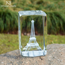 Eiffel Tower Crystal Cube 3D Laser Engraved Famous Building Glass Miniature Crafts Home Decoration Luxury Gifts