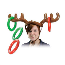 100pcs 2016 Inflatable Kid Children Toys Fun Christmas Toy Toss Game Reindeer Antler Hat With Rings Hats Party Supplies  ZA1158
