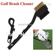 Best Price 100 pcs/lot Dual Bristles Golf Club Brush Cleaner Ball 2 Way Cleaning Clip Plastic Groove