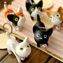 Cartoon Cat Kitten Lovely Key Rings Chains Keychain Bags Pendant Ornament Kid Toy(China)