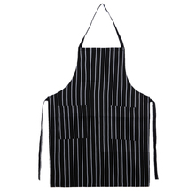 Unisex Waterproof Oilproof Stripe Bib Apron with 2 Pockets Chef Cooking Tool Kitchen Tool