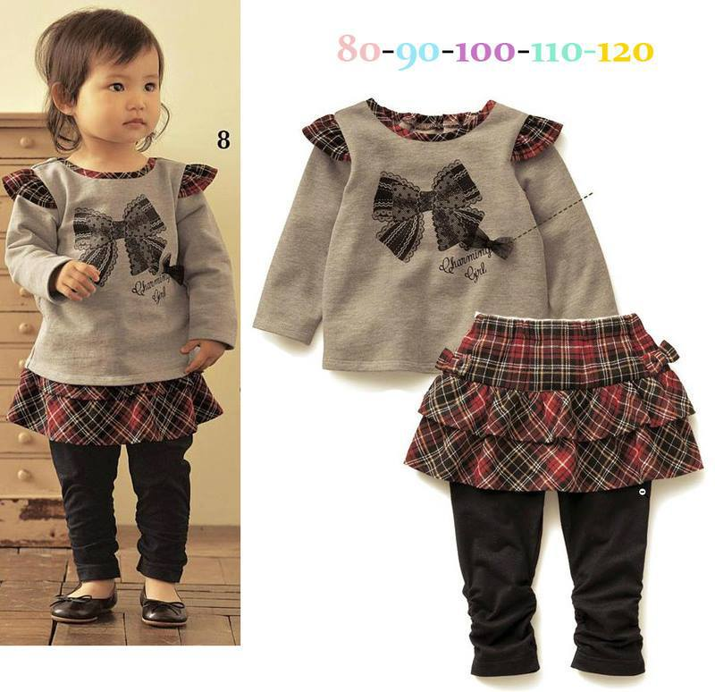wholeale Free shipping children girl set 2 pcs set (long sleeve t shirt+skirt pants)  5set/lot 39=96<br><br>Aliexpress