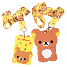 Cute 3D Rilakkuma Bear Holder Bags With String Soft Silicone Material Case Card Holder Key Chain Bus Card Case Bag Kids Gifts(China)