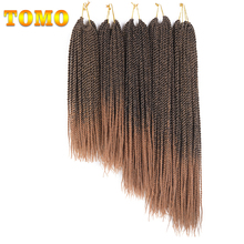 "TOMO 30Roots 14"" 16"" 18"" 20"" 22"" Ombre Kanekalon Braiding Hair 18Colors Synthetic Crochet Braids Senegalese Twist Hair Extension"