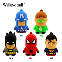 Super heros cute USB flash drive 32gb 64gb Pen drive 128gb high quality U disk 16gb 8gb 4gb funny pendrive memory stick(China)