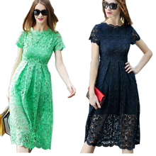Best Selling Classic Design 2017 Summer Women Elegant Cute Lace Dresses Red/Green/Blue/White Runway Plus Size 4XL Dress Vestidos