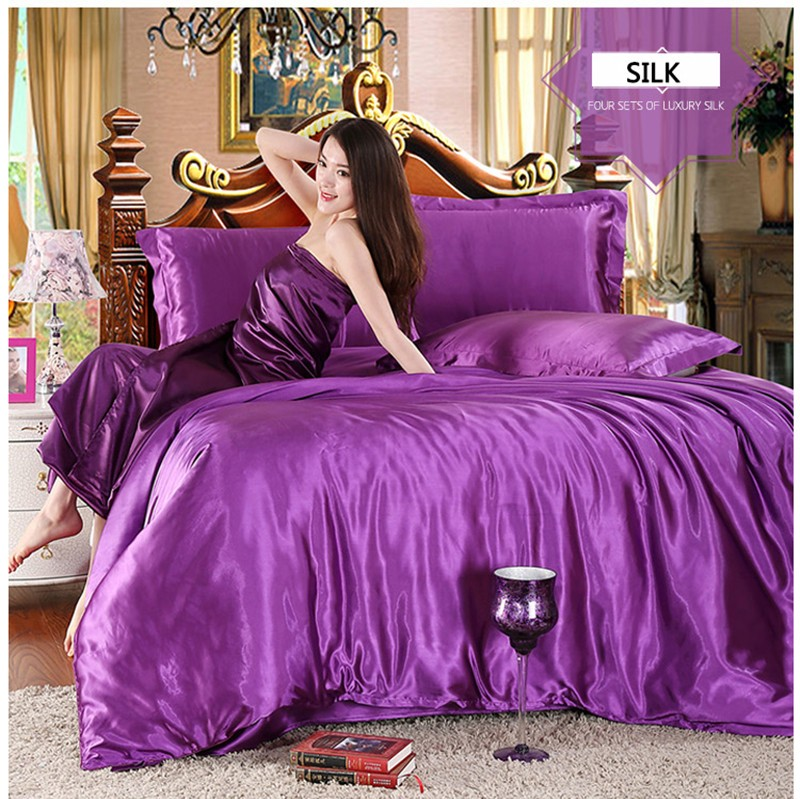 HOT! 100% pure satin silk bedding set,Home Textile King size bed set,bedclothes,duvet cover flat sheet pillowcases Wholesale 8