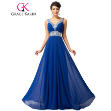 Grace Karin Royal Blue Evening Dresses Deep V Neck Chiffon Sequin Elegant Long Evening Gowns Formal Party Dresses Robe De Soiree(China)
