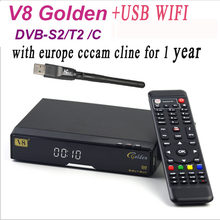 Freesat V8 Golden COMBO IPTV Satellite Receiver + 1 year Europe cccam server DVB-S2 DVB-T2/C Twin Tuner For Spain Italy Germany(China)