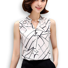 New 2016 Summer Chiffon Blouse shirt Women Printed Sleeveless White top Blouses Shirts Female Office tops(China)