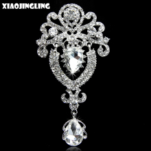 XIAOJINGLING 4 Colors Vintage Jewelry Shine Rhinestone Brooch Bouquet Accessories Top Grade Wedding Costume Brooches for Women