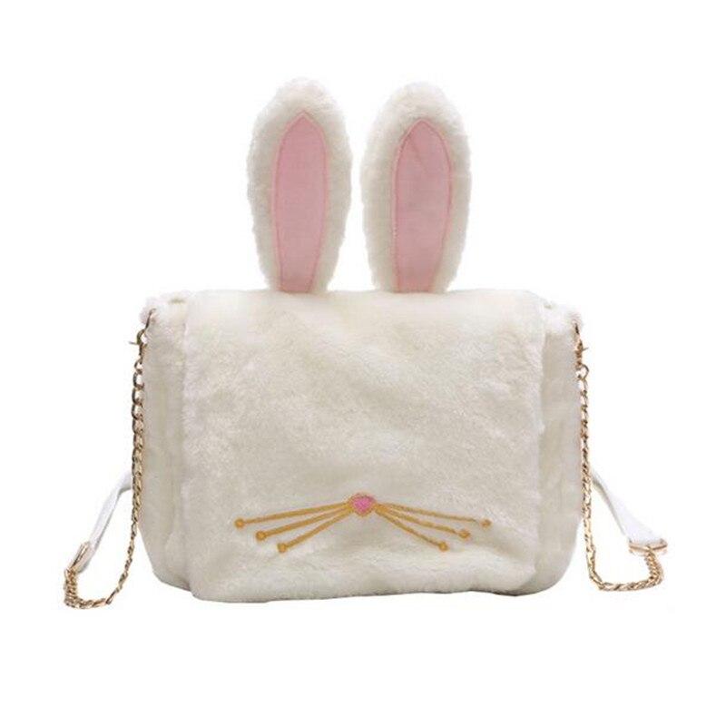 2017 Funny Cartoon Rabbit Ears Soft Handbag Women Fashion Plush Day Clutch Purse Girls Casual Chain Crossbody Shoulder Bag Bolso<br><br>Aliexpress