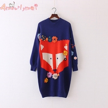 Amourlymei Long Knitted Sweater Dresses Autumn Winter 2017 Women Cartoon Fox Flower Lantern Sleeve Pullover Mori Girl Vestidos(China)