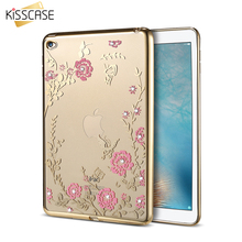 KISSCASE Glitter Rhinestone Case For iPad Air 2 Tablet Cases Luxury Slim Soft TPU Rubber Bling Coque Cover For iPad 6 Air 2 Capa