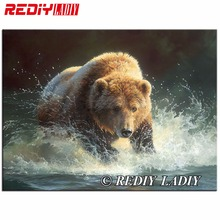 Full Magic Round Diamond Painting 5D DIY Diamond Embroidery Beads Grizzly Bear Picture of Crystals Mosaic Patchwork Crafts Hobby(China)