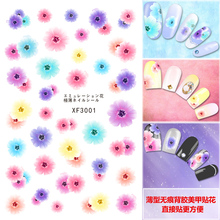 High quality nail decals semi - translucent thin - back glue color HD printing nail stickers posted directly 01